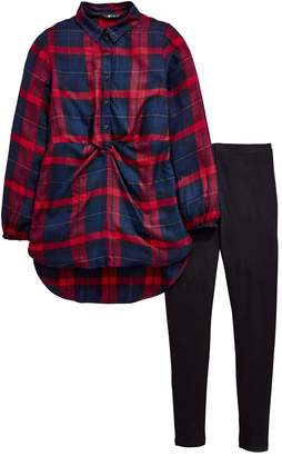 Very Girls Check Tie Front Shirt & Legging Outfit