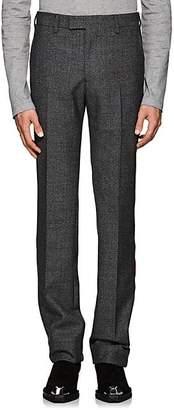 Calvin Klein Men's Striped Plaid Wool Trousers - Dark Gray