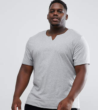 Asos Design DESIGN Plus relaxed fit t-shirt with raw notch neck in gray