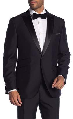 Co SAVILE ROW Thruxton Black One Button Peak Lapel Modern Fit Tuxedo Jacket