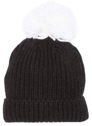 David & Young Knit Beanie With Oversize Pompom
