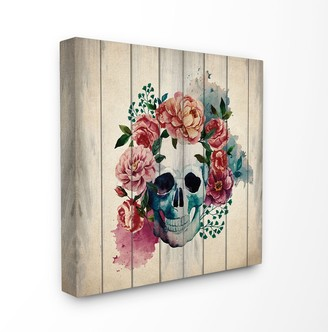 Stupell Home Decor Floral Skull Canvas Wall Art