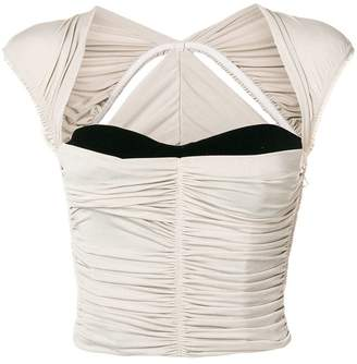 Alexander Wang ruched triangle cap sleeve bodice