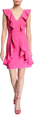 Laundry by Shelli Segal Ruffle Core V-Neck A-Line Short Cocktail Dress