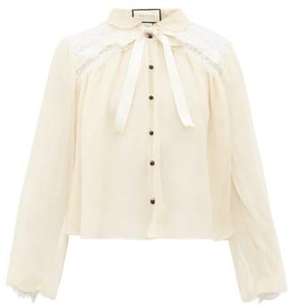 Gucci Chantilly Lace And Silk Chiffon Blouse - Womens - Ivory