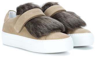 Moncler Fur-trimmed suede sneakers