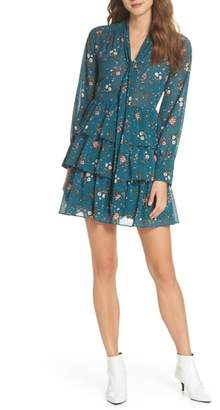 Chelsea28 Tiered Floral Tie Neck Dress