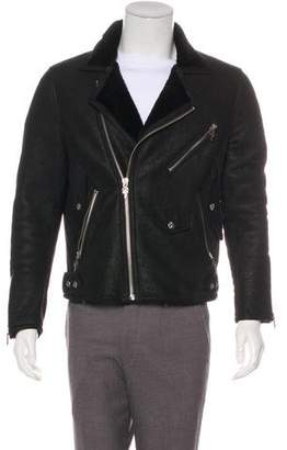 Chrome Hearts Suede Fleece-Lined Moto Jacket