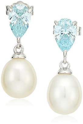 Swarovski Platinum Plated Sterling Silver Freshwater Pearl Pear with Fancy Mint Zirconia Accents Dangle Earrings