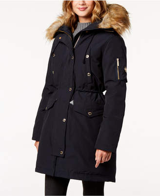 Michael Kors Faux-Fur-Trim Hooded Down Parka Coat