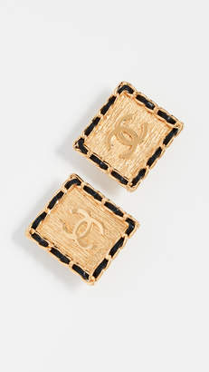 Chanel What Goes Around Comes Around Square CC Earrings