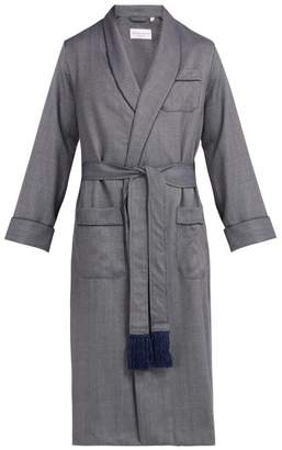 Derek Rose Lincoln Wool Herringbone Robe - Mens - Navy