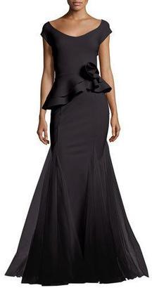 La Petite Robe di Chiara Boni Lady Cap-Sleeve Peplum Mermaid Gown, Pink $1,190 thestylecure.com