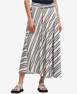 DKNY Asymmetrical-Stripe Belted Maxi Skirt