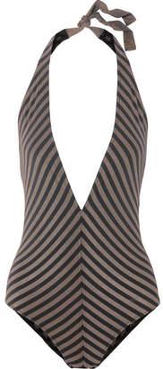 Eres Backgammon Fair Play Striped Stretch-lurex Halterneck Swimsuit - Black