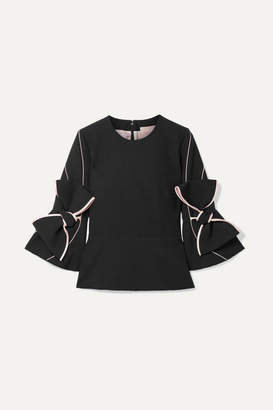Roksanda Ricciarini Bow-embellished Satin-trimmed Crepe Blouse - Black