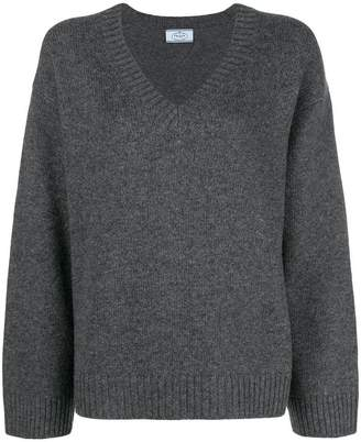 Prada wide sleeve v-neck jumper
