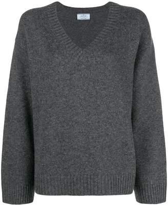 Prada wide sleeve v-neck jumper