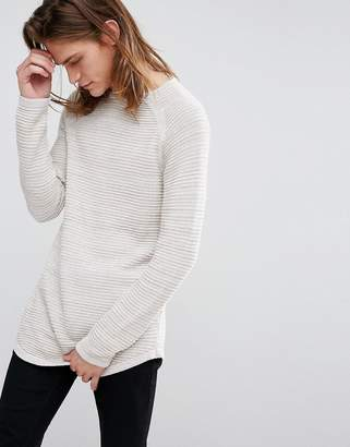 Bershka Chunky Ribbed Sweater In Beige