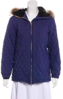 Post Card Faux Fur-Trimmed Quilted Jacket