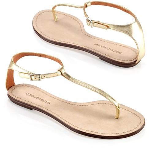 Dolce & Gabbana Metallic T-Strap Flat, Gold