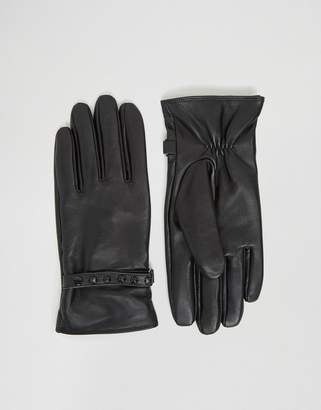 Asos Leather Gloves With Studding In Black