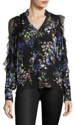 Parker Elana Floral Silk Cold-Shoulder Top