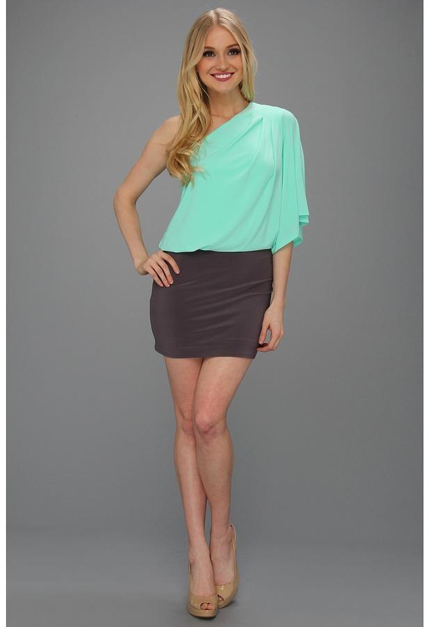 Jessica Simpson One-Shoulder Mini Dress (Ice Green/Rabbit) - Apparel