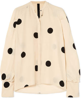Petar Petrov Polka-dot Silk Crepe De Chine Blouse - Cream