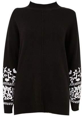 Wallis Black Embroidered Polo Neck Jumper
