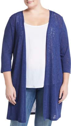 Kasper Plus 3/4-Sleeve Slub Topper Cardigan, Plus Size