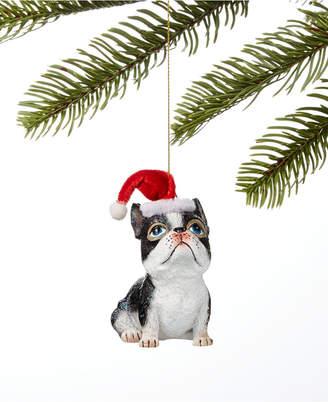 Holiday Lane Pets Bulldog in Santa Hat Ornament