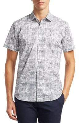Saks Fifth Avenue MODERN Short Sleeve Etched Print Woven Shirt