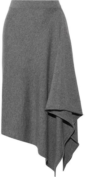 Michael Kors Collection - Asymmetric Cashmere Midi Skirt - Gray