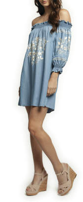a6a14562ca Dex OTS 3 4 Slv Embroidered Denim Dress