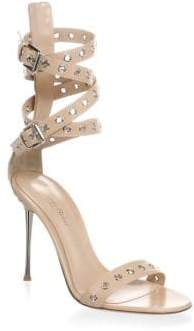 Gianvito Rossi Women's Grommet Leather Strap Sandal - Powder - Size 37 (7)