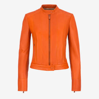Bally Leather Café Racer Biker Jacket Orange, Women's lamb nappa leather biker jacket in dark lobster