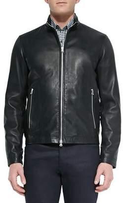 Theory Basic Leather Jacket, Black