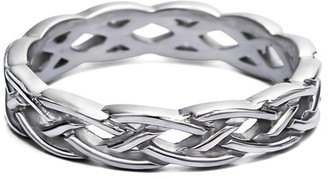 Celtic TwoBirch Sterling Silver Plain Infinity Braided Men's Ring(crt)