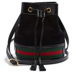 Gucci Ophidia Web Striped Mini Suede Bucket Bag - Womens - Black Multi