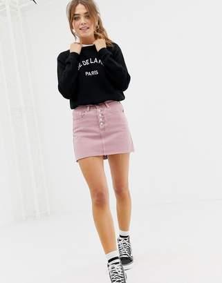 Glamorous button front coloured denim skirt