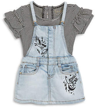 Jessica Simpson Baby Girl's Two-Piece Cotton Top Denim Jumper Set