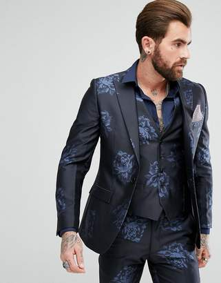 Rudie Navy Floral Print Skinny Fit Suit Jacket