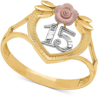 "Macy's Tricolor Quinceañera ""15"" Rose Openwork Ring in 14k Gold, Rose Gold & Rhodium Plate"