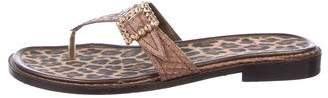 Beverly Feldman Snakeskin Thong Sandals