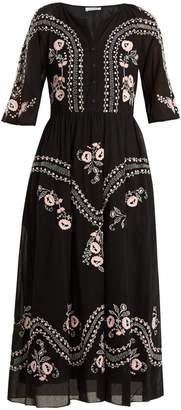 Vilshenko Geneve embroidered short sleeve cotton dress