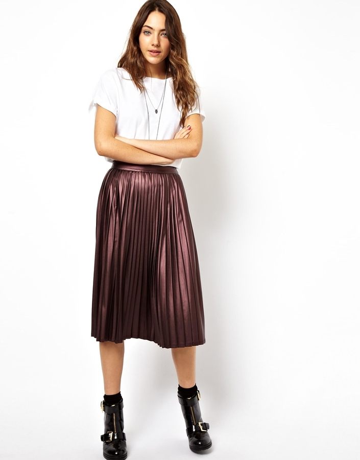 ASOS Coated Midi Skirt with Pleats