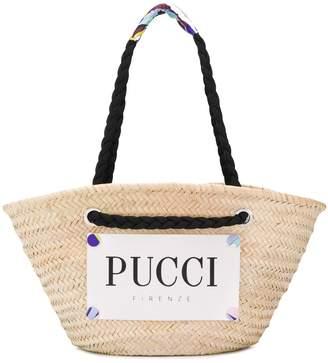 Emilio Pucci Logo Print Raffia Basket Bag