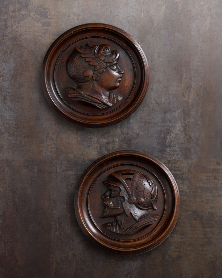 Horchow Two Carved Wooden Portraits, c. 1870