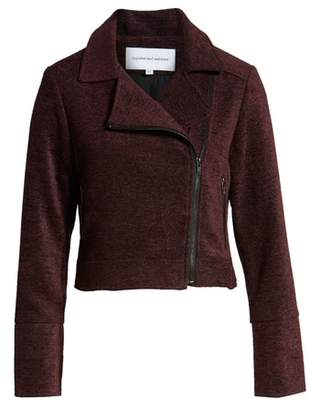 Cupcakes And Cashmere Chenille Crop Moto Jacket